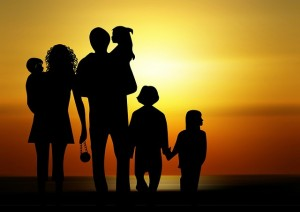FAMILY WITH SUNSET